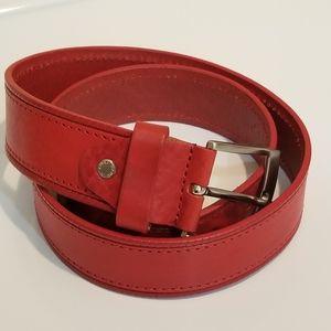Italian Red Leather Belt